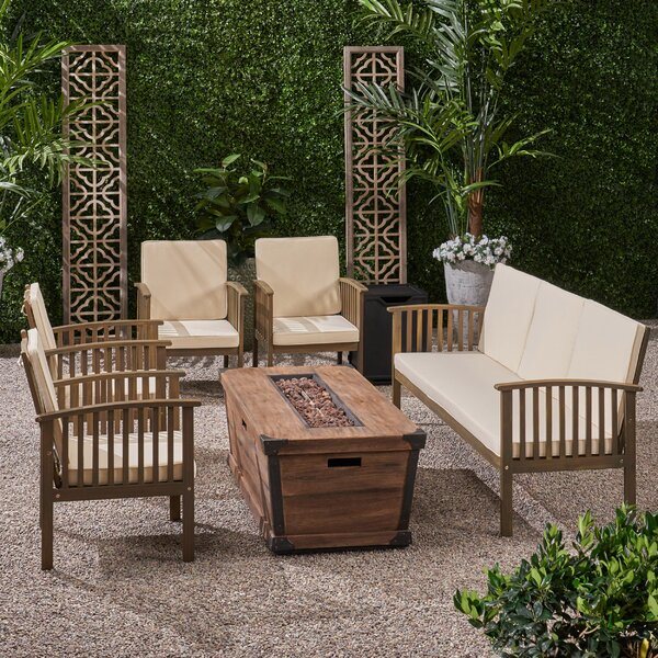 Olympia Outdoor 7 Piece Sofa Seating Group with Cushions by Breakwater Bay