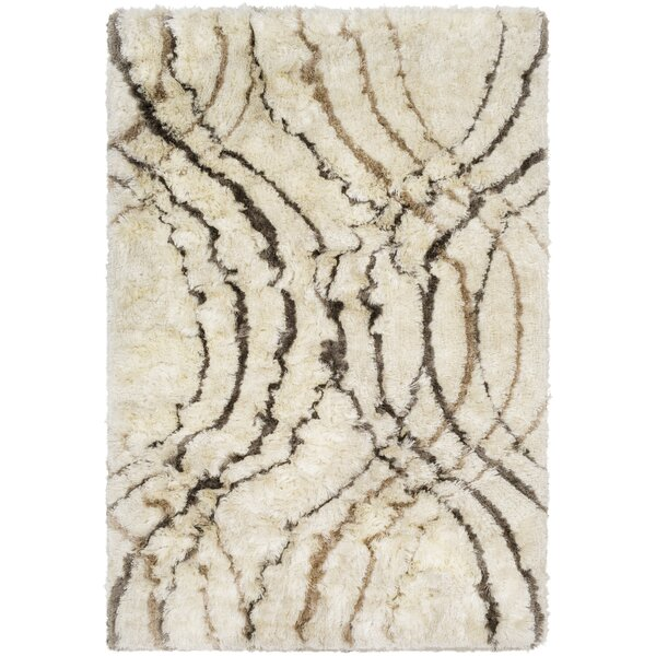 Witherell Abstract Hand-Tufted Cream/Charcoal Area Rug by Mercer41