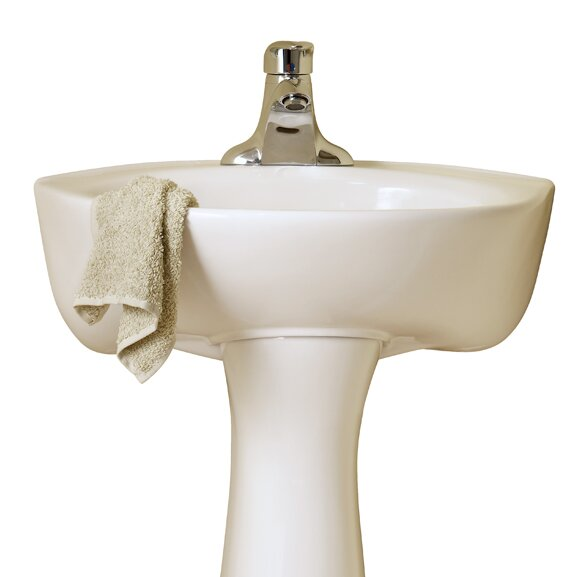 Ceramic 16 Pedestal Bathroom Sink with Overflow by