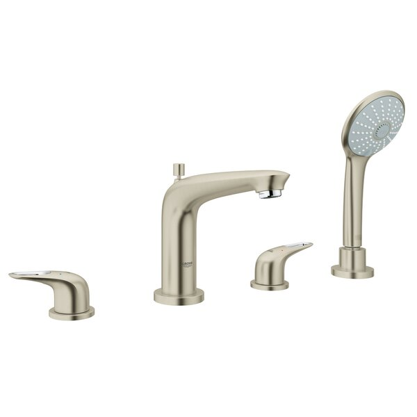 Eurostyle Double Handle Deck Mounted Roman Tub Faucet with Diverter and Handshower by GROHE GROHE