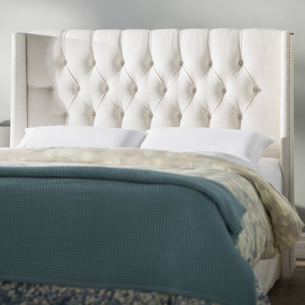 Hillenbrand Tufted Linen Upholstered Wingback Headboard by Brayden Studio