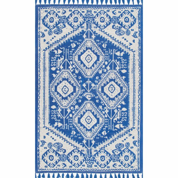 Quartier Hand-Woven Blue Area Rug by Bungalow Rose