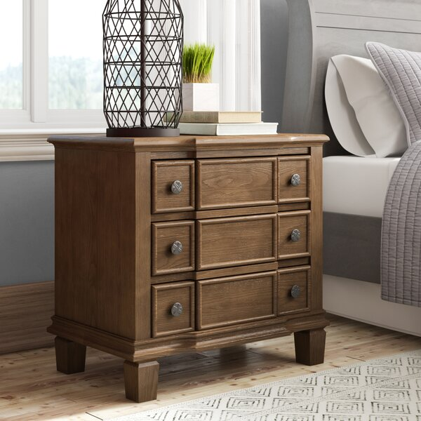 Burgan Weathered 3 Drawer Nightstand by Ophelia & Co.