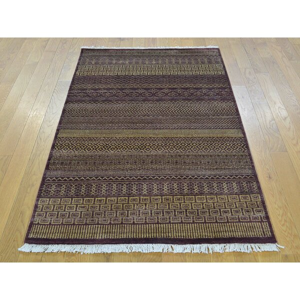 One-of-a-Kind Becker Burgundy Grass Design Hand-Knotted Red Wool Area Rug by Isabelline