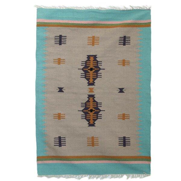 Parkey Caravan Handmade Dhurrie Wool Ivory Area Rug by Union Rustic