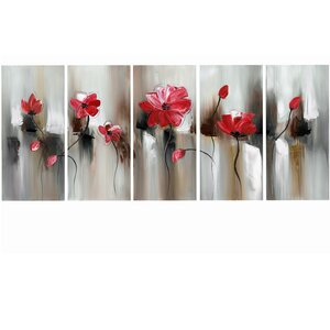 Modern Flower 5 Piece Painting Print on Wrapped Canvas Set by Design Art
