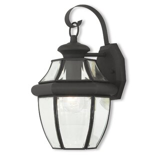Compare prices Gustavson 1-Light Outdoor Metal Wall Lantern By Three Posts