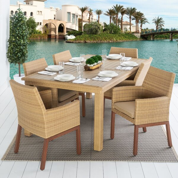 Addison 7 Piece Dining Set with Sunbrella Cushions Bayou Breeze BBZE1785