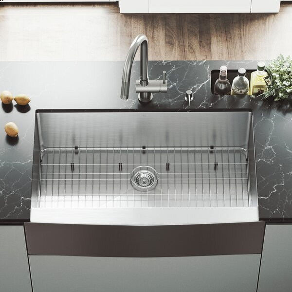 All in One 36 L x 22 W Farmhouse Apron Kitchen Sink with Faucet, Grid, Strainer and Soap Dispenser by VIGO