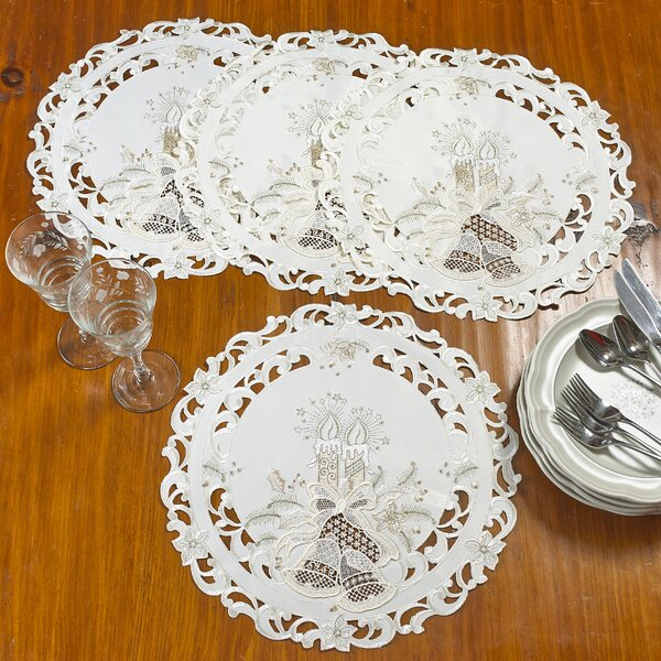 Delsur Candle and Bells Handmade Embroidered Cutwork Candle Round 16 Placemat (Set of 4) by The Holiday Aisle