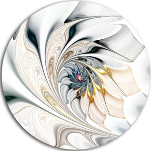 'White Stained Glass Floral Art' Graphic Art Print on Metal by Design Art