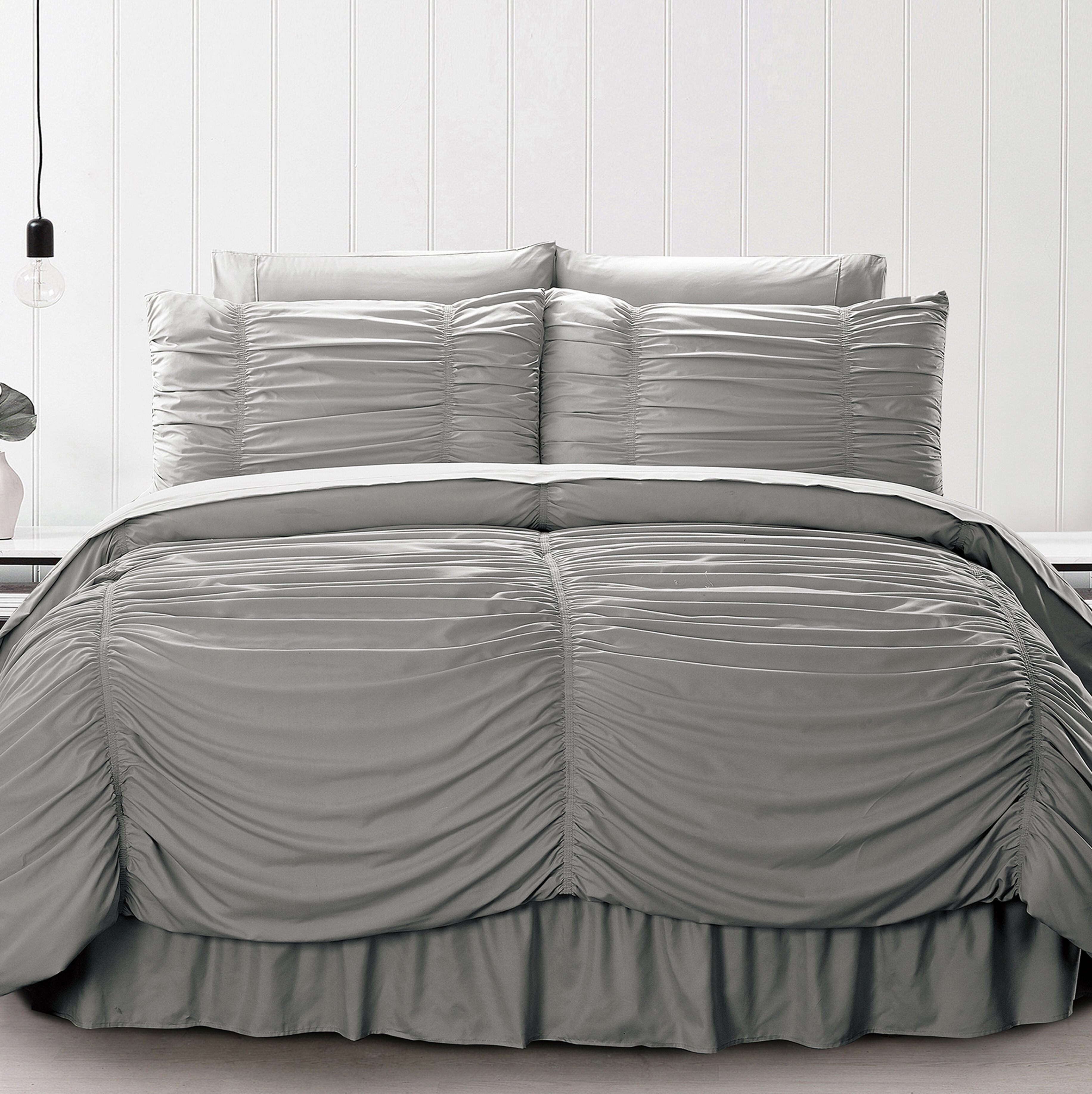 and White Comforter Set 8-Piece Luxury Pintuck Pleated Stripe Black Gray