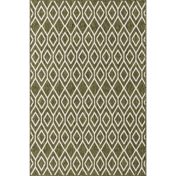 Samual Geometric Green Indoor/Outdoor Area Rug