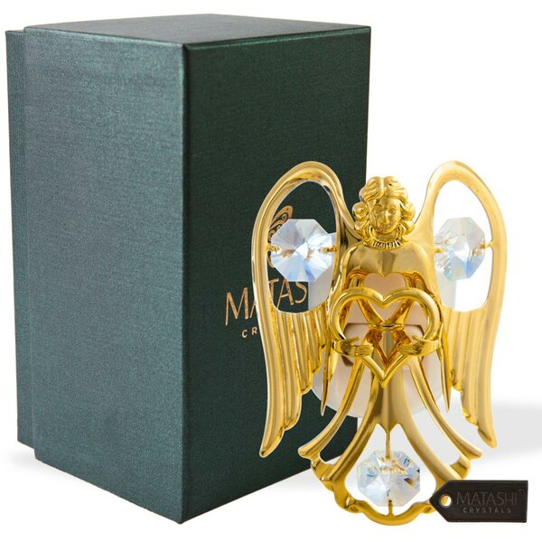 24K Gold Plated Crystal Studded Open Arms Angel Night Light by Matashi Crystal