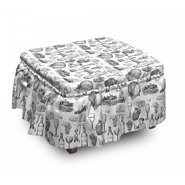 Winery Items Hand Drawing Ottoman Slipcover (Set Of 2) By East Urban Home