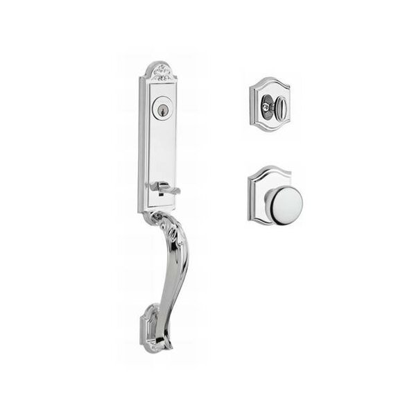 Elizabeth Single Cylinder Handleset with Round Door Knob and Traditional Arch Rose by Baldwin