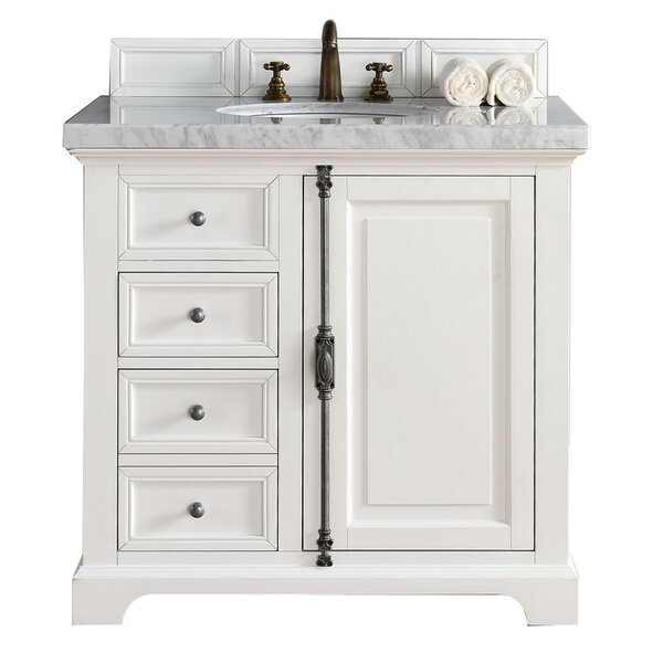 Ogallala 36 Single Cottage White Stone Top Bathroom Vanity Set by GreyleighOgallala 36 Single Cottage White Stone Top Bathroom Vanity Set by Greyleigh