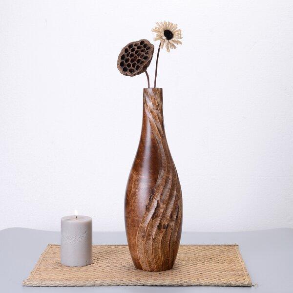 Seline Tear Drop Mango Wood Table Vase by World Menagerie