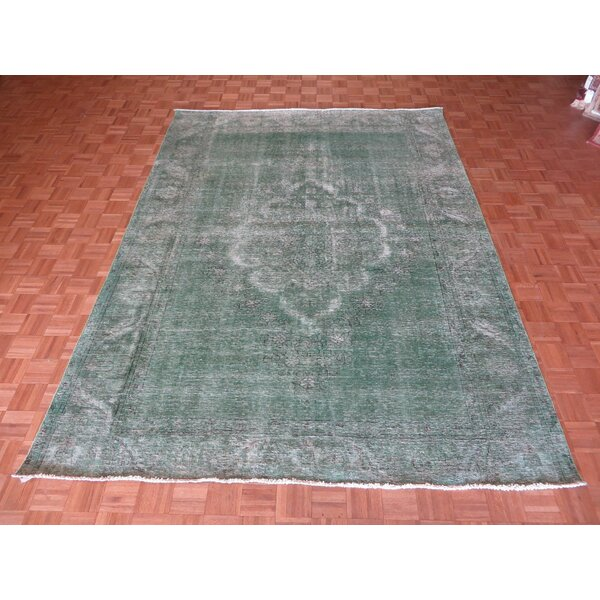 One-of-a-Kind Padro Hand-Knotted Light Green Area Rug by Bloomsbury Market