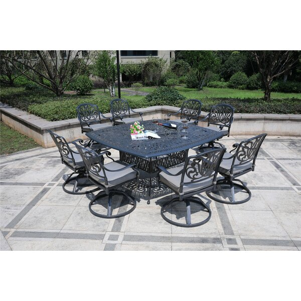 Barbee Aluminum 9 Piece  Dining Set with  Cushions by Canora Grey