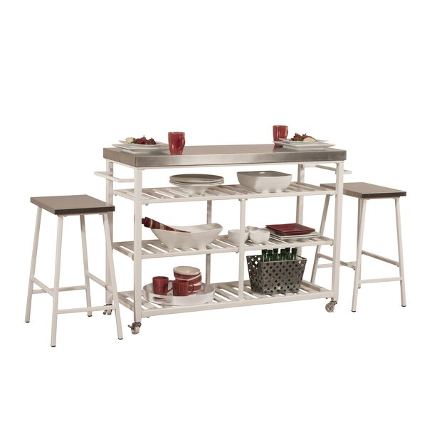 Geary Kitchen Island Set with Stainless Steel Top by August Grove