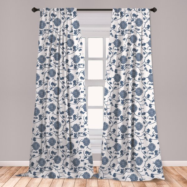 East Urban Home Ambesonne Blue Curtains, Chinese Floral Garden