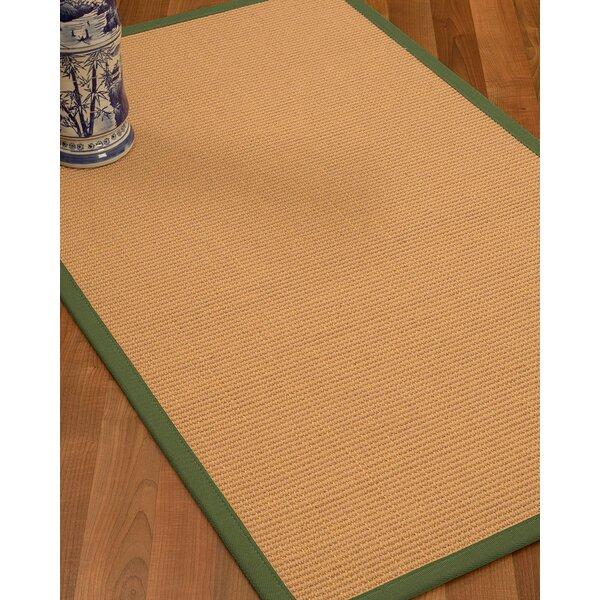 Lafayette Border Hand-Woven Wool Beige/Green Area Rug by Bay Isle Home