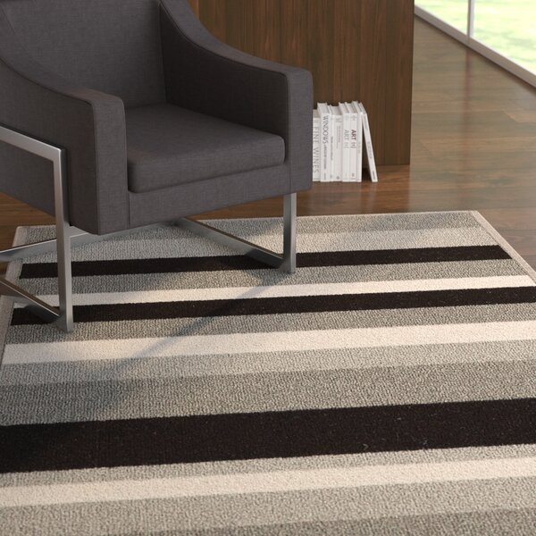 Covey Stripes Gray/Black Area Rug by Ebern Designs