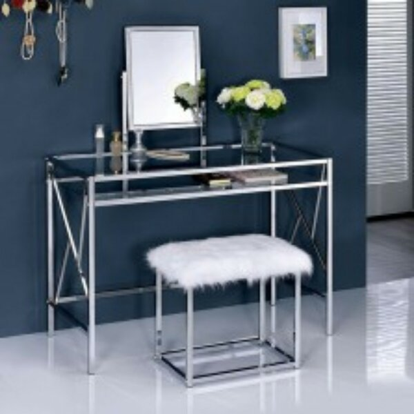 Mazzone Vanity Set with with Stool and Mirror by House of Hampton House of Hampton