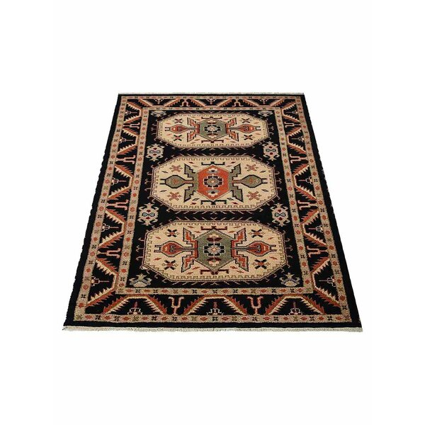 Ferry Hand-Knotted Wool/Silk Black/Cream Area Rug by Astoria Grand