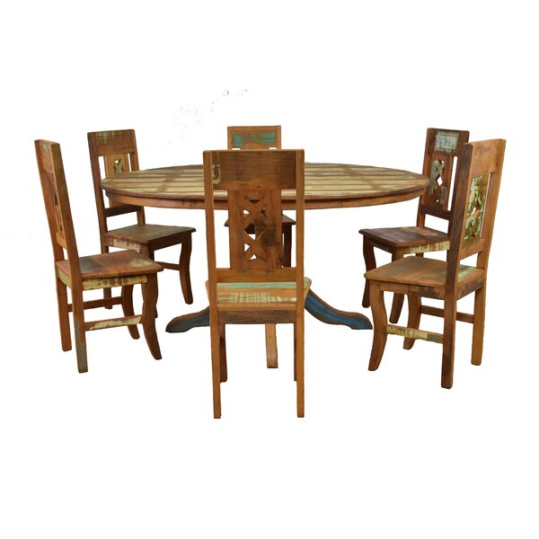 Goulart 7 Piece Solid Wood Dining Set by Bloomsbury Market