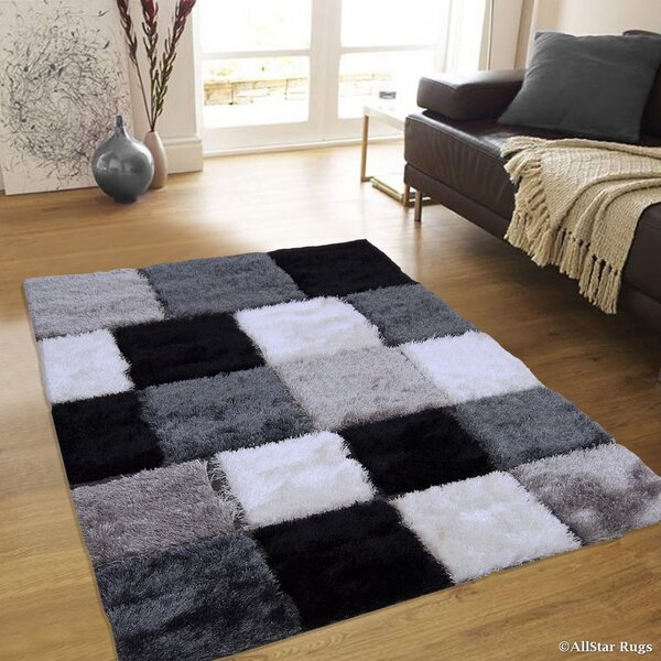 Hand-Tufted Black/White Area Rug by AllStar Rugs