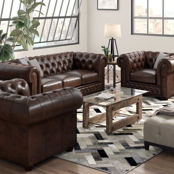 Worcester Leather 3 Piece Living Room Set by Trent Austin Design