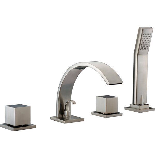 Double Handle Deck Mount Tub Filler Trim with Personal Hand Shower and Sheet Flow Spout by Dawn USA