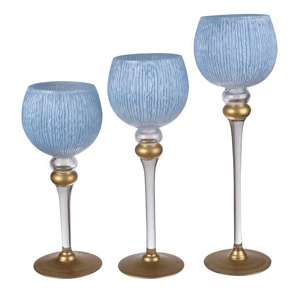 3 Piece Glass Candelabra Set by Astoria Grand
