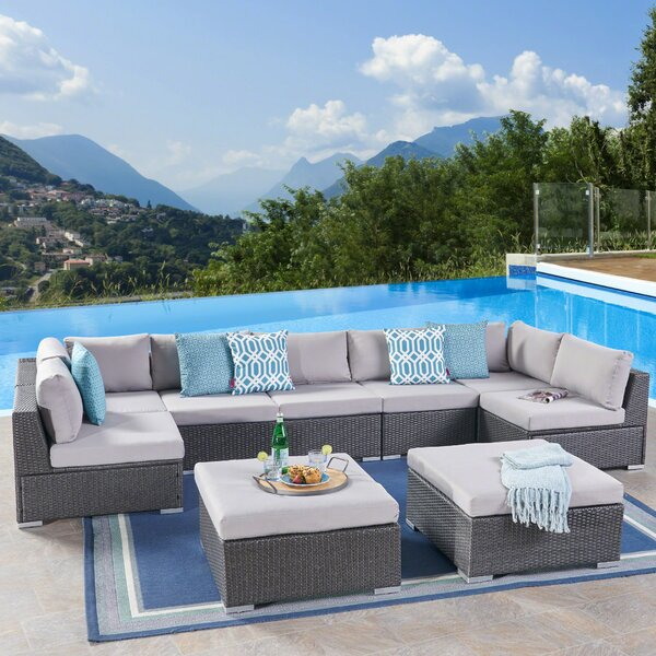 Cabral 9 Piece Sectional Seating Group with Cushion by Sol 72 Outdoor Sol 72 Outdoor