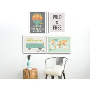 4 Piece Wild and Free Paper Print Set by Global Artisan Kids Collection