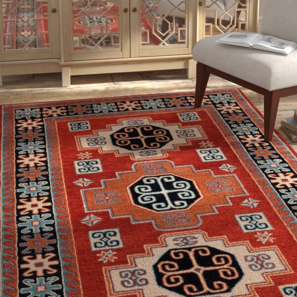 Mar Vista Hand-Woven Wool Red/Orange Area Rug by Bloomsbury Market