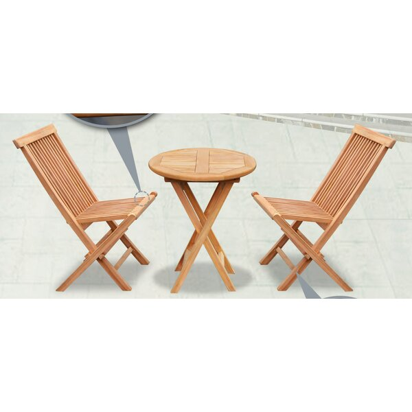 Lotus Patio Round Wood Table Folding Chairs 3 Piece Teak Bistro Set by Alcott Hill