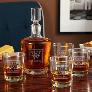 Drew Personalized Whiskey 5 Piece Beverage Serving Set ByDarby Home Co