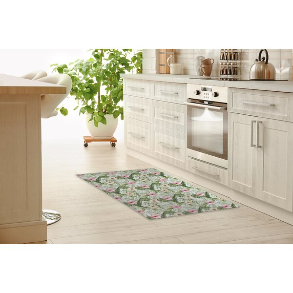 Deasia Tropical Leaves Hibiscus Kitchen Mat