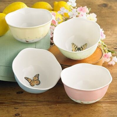 Butterfly Meadow Dessert Bowl Set (Set of 4) by Le