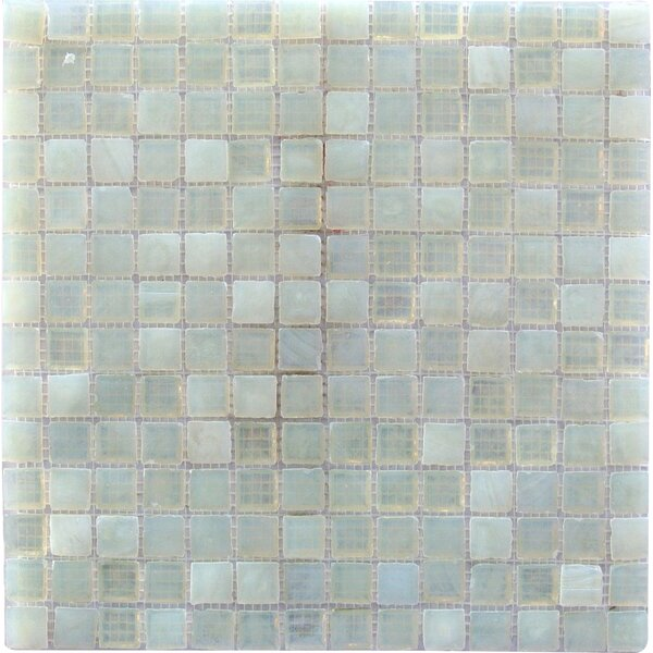 LEED Amber 0.75 x 0.75 Glass Mosaic Tile in Pearl White by Abolos