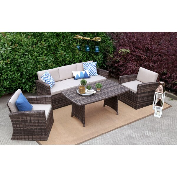 Spaulding 4 Piece Rattan Sofa Seating Group with Cushions by Rosecliff Heights Rosecliff Heights