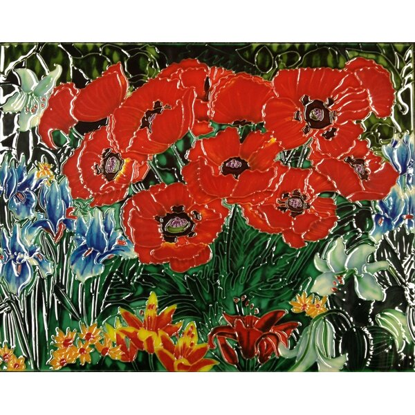 Horizontal Poppies Tile Wall Decor by Continental Art Center