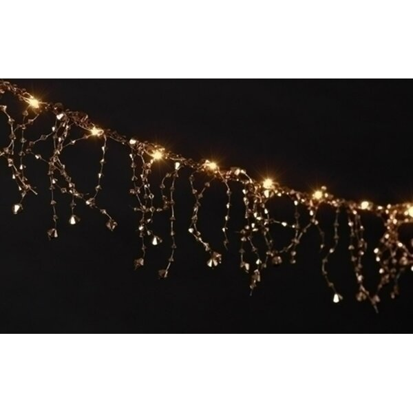 Battery Operated LED Lighted Faceted Gold Beaded Christmas Garland by The Holiday Aisle