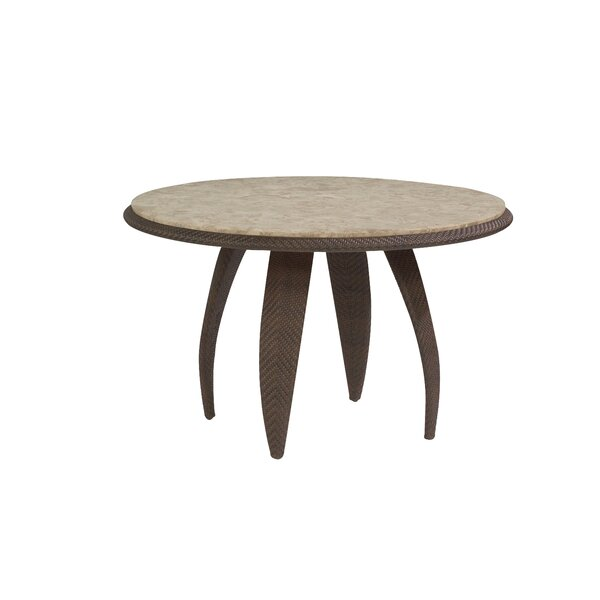 All-Weather Bali 48 Round Dining Table with Stone Top by Woodard