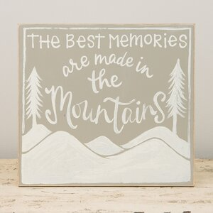 'Best Memories Mountains' Textual Art on Wood by Glory Haus