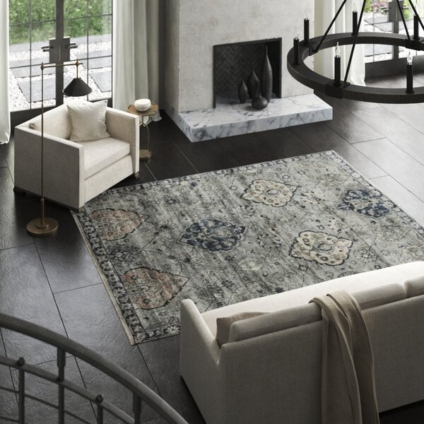 Damask Hand-Knotted Silk Gray/Denim Blue Area Rug