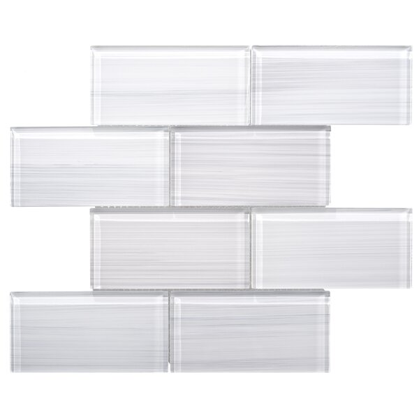 Premium 3 x 6 Hand Painted Glass Subway Tile in Wh